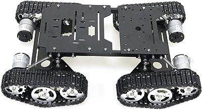 Smart Robot Car Platform, Kecheer Aluminum Alloy 4WD Robot Tank Chassis Kit Shock Absorbing Robotic DIY Metal Tank Chassis...