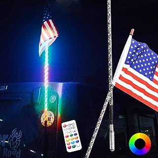 Maiker 5FT LED Whip Lights 360° Twisted Antenna Dream Wrapped Dancing Whips for Polaris RZR ATV Antenna Whip UTV Quad Sand Dune Buggy Flag Poles for Trucks w/Remote Control