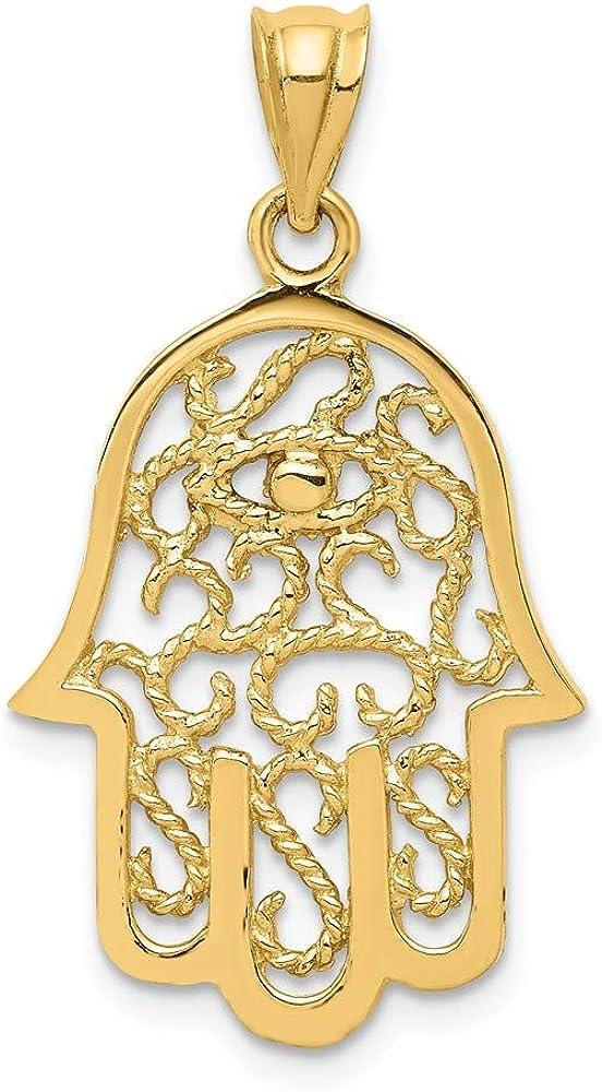 14K Yellow Gold lowest price Award Polished Hamsa Filigree Pendant
