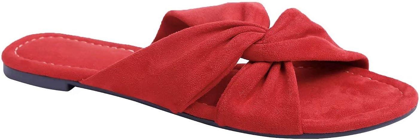 MaxMuxun Women Shoes Suede Ruffle Flat Sandals Comfort Slip On Slides