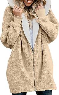 7eb82c6c7eabe Gnao Women's Hooded Winter Shaggy Zip-Up Warm Trench Coat Hoodies Jacket  Overcoat