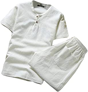 Men's Summer 2 Piece Outfits Fashion Cotton Linen Short Sleeve Shorts Outfits