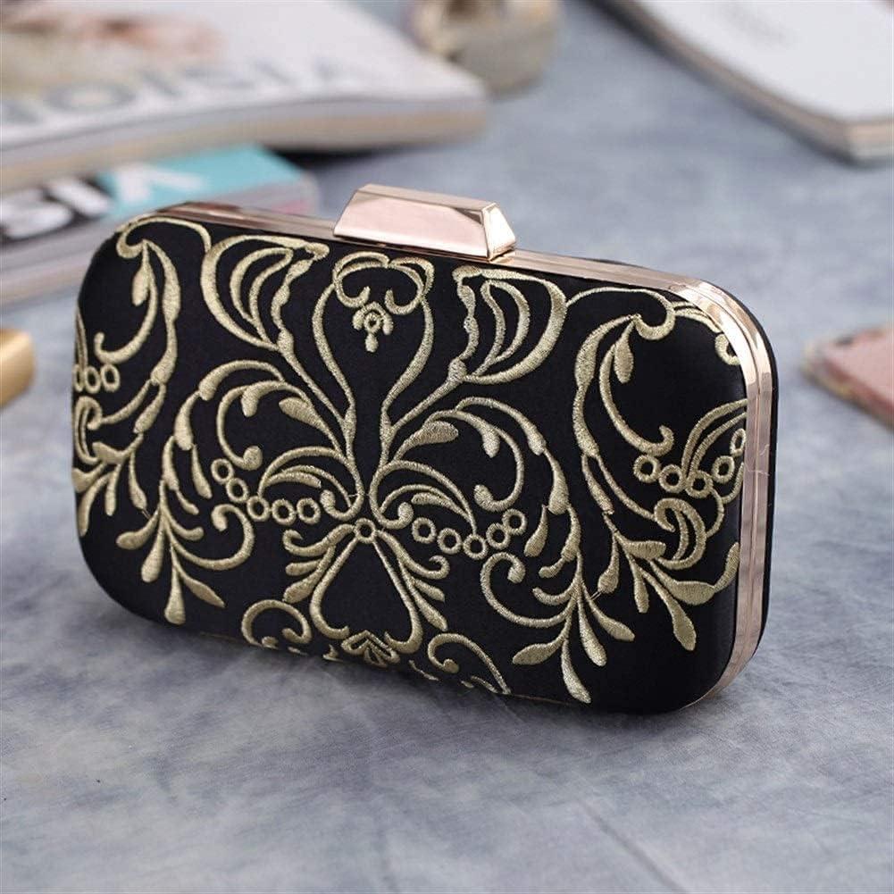 Women's Evening Handbags Ladies Black Embroidered Clutch Bag Shoulder Bag, Wedding Party Bar