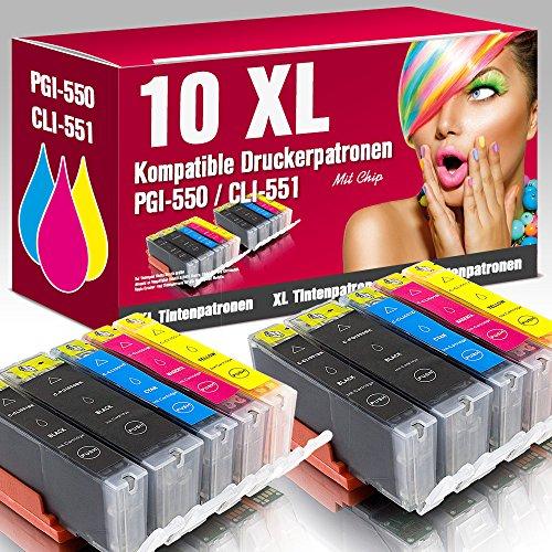 ms-Point® 10 kompatible Druckerpatronen PGI-550 CLI-551 mit CHIP für Canon