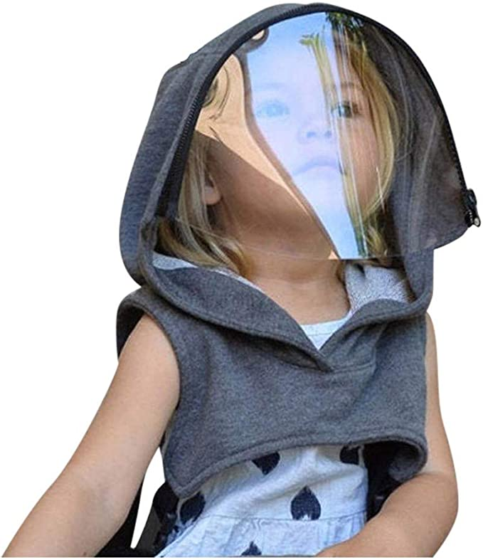 Beauteye 1 PC Adults Kids Face Full Protective Hat with Clear Window Hooded Face Reusable Washable Removable Windproof Full Cover Hat Outdoor UV Light Protection