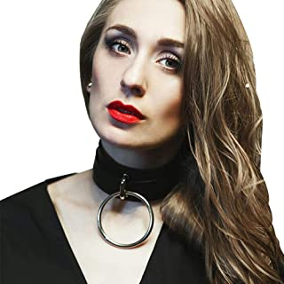 Leather Choker Necklace Adjustable Gothic O-Ring Punk Collar For Girls Women Gifts