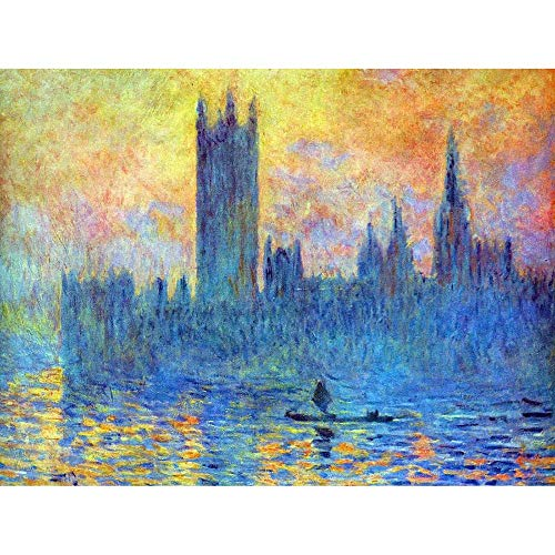 Wee Blue Coo Monet London Parliament Winter Old Master Painting Unframed Wall Art Print