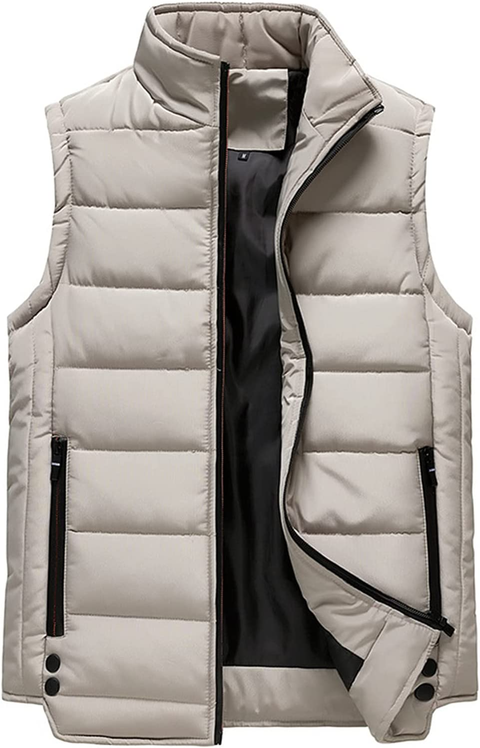BWCX Outdoor Lightweight Water-Resistant Packable Puffer Vest for Men Hooded Outerwear Jackets Coats,Gray,M