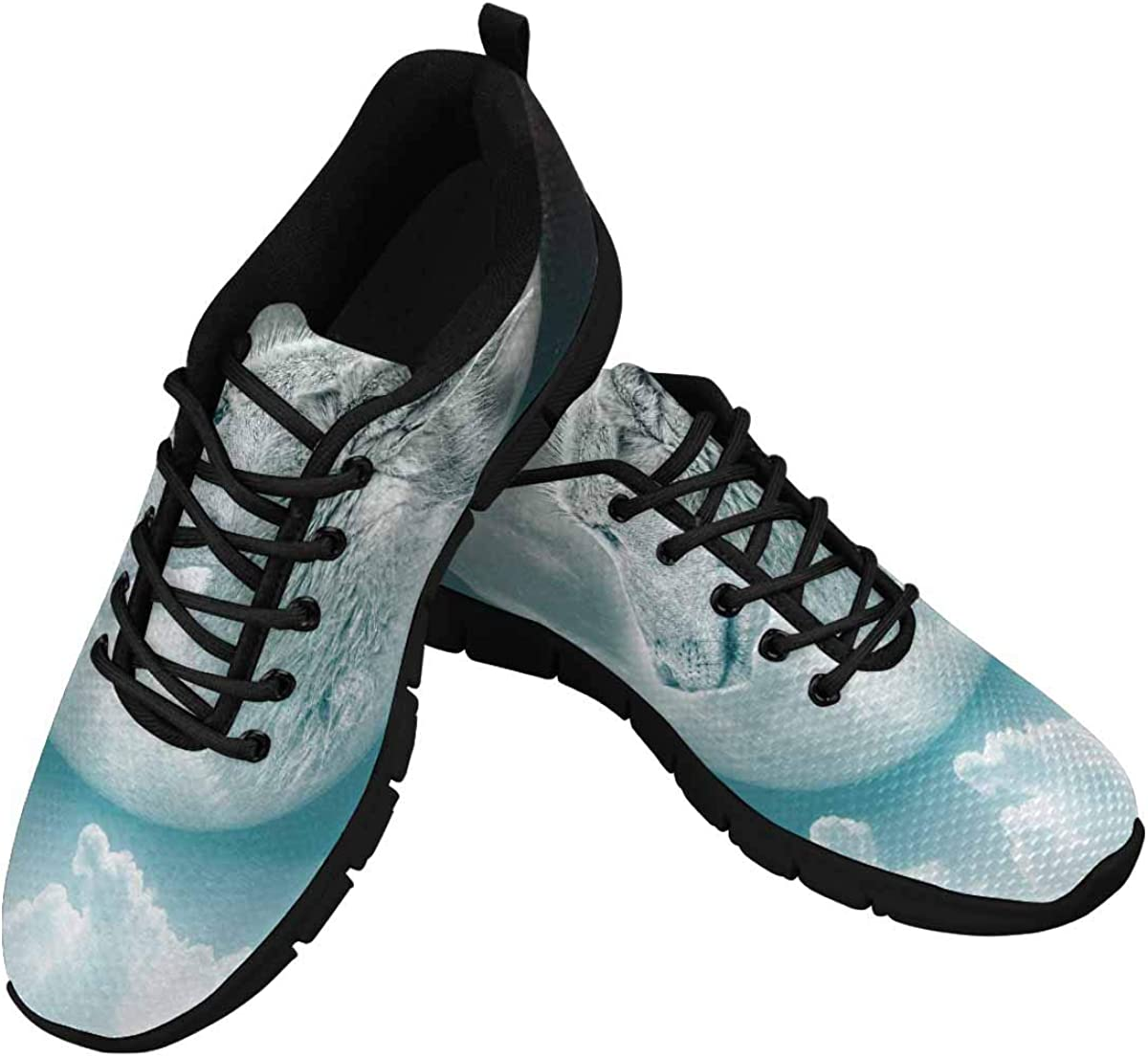 INTERESTPRINT Moon Wolf Women's Breathable Comfort Mesh Fashion Sneakers