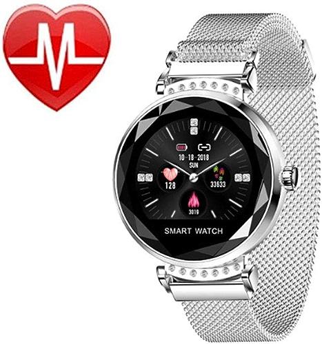 YSZDM Montre connectée, Bracelet Intelligent de Surveillance de la Pression artérielle de fréquence Cardiaque de Bracelet IP67 Détecteur de Sommeil étanche Détecteur de pour Android et iOS,argent
