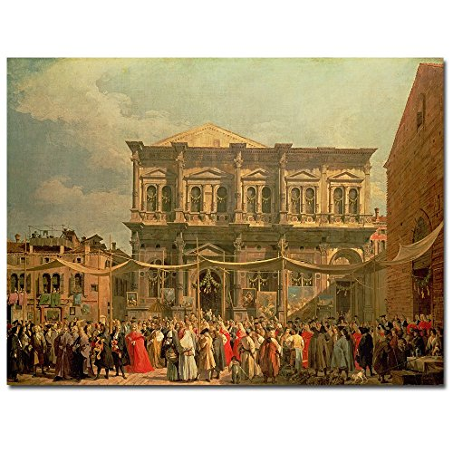 Doge Visiting the Church and Scuole di St. Rocco by Canaletto, 24x32-Inch Canvas Wall Art