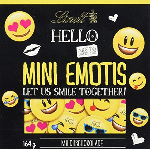 Lindt HELLO Mini Emotis, Milchschokolade in 5 Emoti Designs, Schokoladen-Geschenk, glutenfrei, 164 g