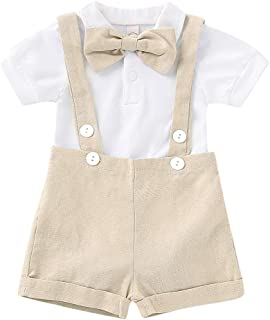 Baby Boys Gentleman Outfits Set Short Sleeve Romper with Tie and Overalls Bib Pants Wedding Tuxedo Outfits