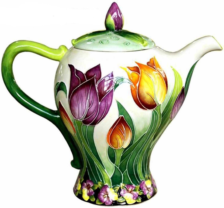 bluee Sky Ceramic  10 X6 X8.75  Tulip Teapot