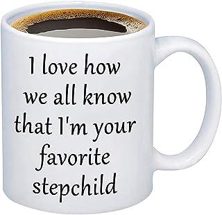 PXTIDY Step Parent Mug Stepmom Gifts Stepdad Gifts I Love How We All Know That I'm Your Favorite Stepchild Coffee Mug Funn...