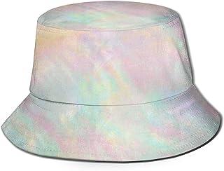 Unisex Holographic Iridescent Pink Orange Bucket Hat Fisherman Hats Summer Reversible Packable Cap