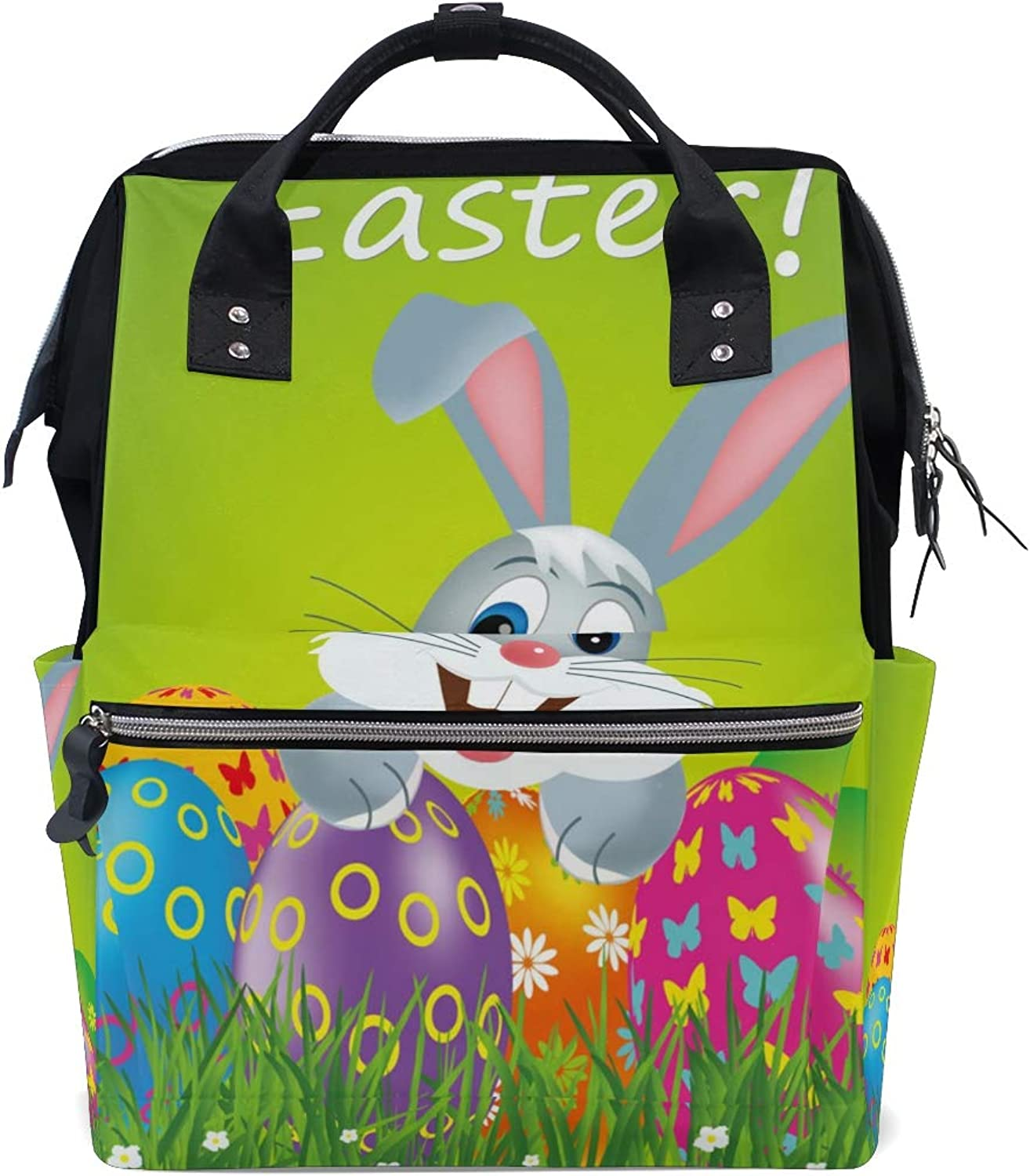 ColourLife Diaper bag Backpack Easter colorful Eggs And Bunny Tote Bag Casual Daypack Multifunctional Nappy Bags
