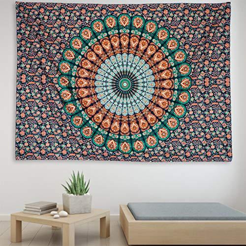 MEOKEY Tapiz Pared de Mandala Indian Hippie Bohemia Decoración Tapiz para Dormitorio Hogar Playa (150 cm x 210 cm)