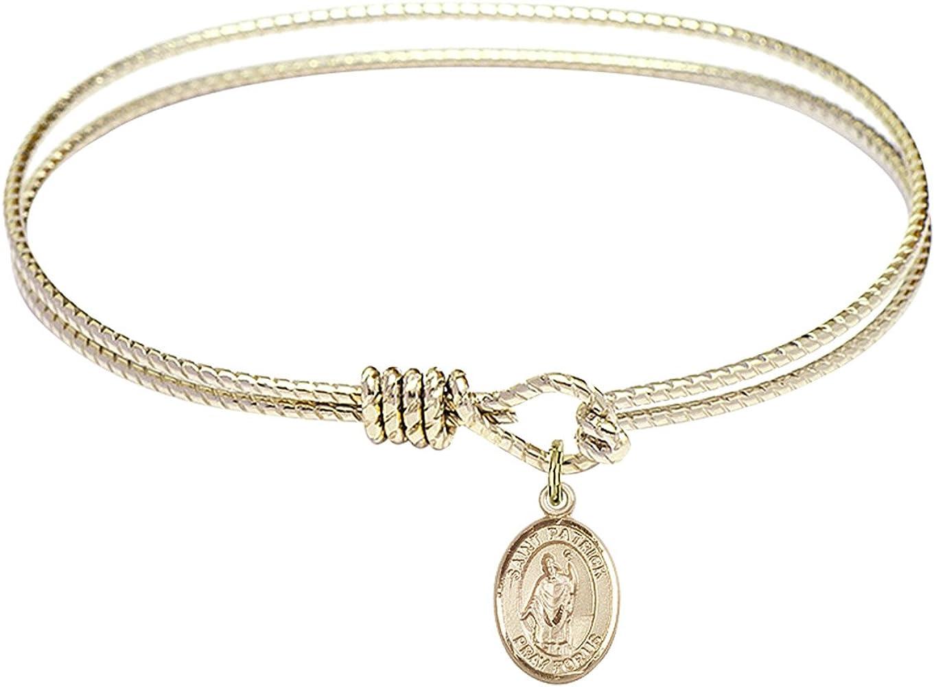 DiamondJewelryNY Eye Hook Bangle Bracelet with a St. Patrick Charm.