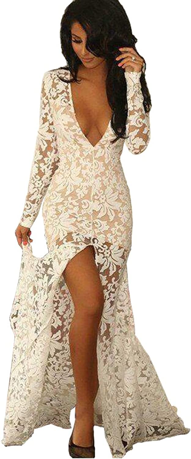 Aorme Long Sleeves VNeck SplitFront Lace Evening Dress Prom Gown