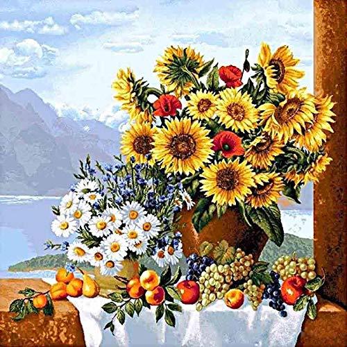 Puzzel Voor Volwassenen, 1000 stukjes Bloemen In Een Vaas Legpuzzel Voor Volwassenen Groot Houten Decompressiespel Moeilijkheidsgraad Grappig 75X50Cm