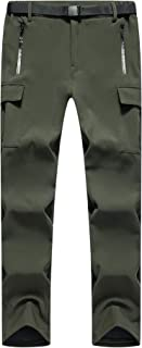 LancerPac Men's Hiking Pants Soft Shell Waterproof Casual Outdoor Windproof Fleece Lined 4 Pocket Mountain Cargo Pants