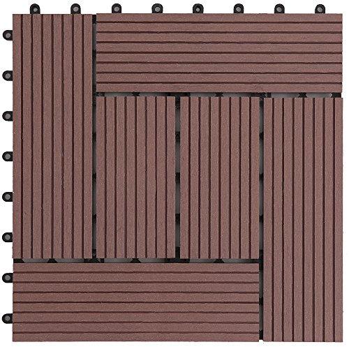 アイリスプラザ ジョイントタイル 十文字溝付 人工木 ブラウン 18枚セット