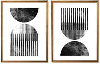 Mid Century Style Woodblock Print In Classic Geometric Shapes, Neutral Colors, Printable Poster, Black And White, Geometric Wall Decor, Woodblock Print- 8x10 - Unframed