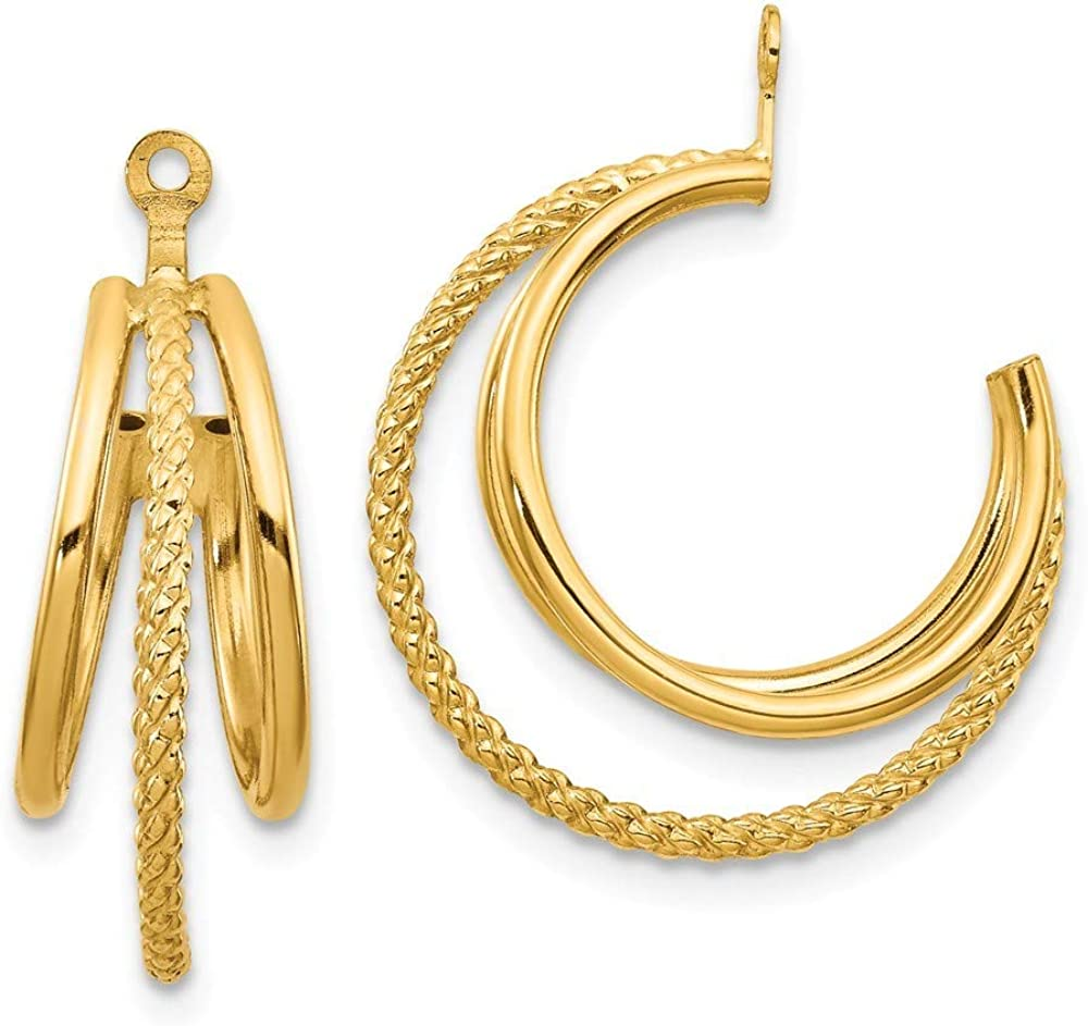 Roy Rose Jewelry 14K Yellow Gold Polished & Twisted Triple Hoop Earring Jackets