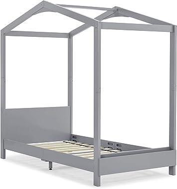 Delta Children Poppy House Wood Twin Bed, Platform Bed - No Box Spring Needed, Grey