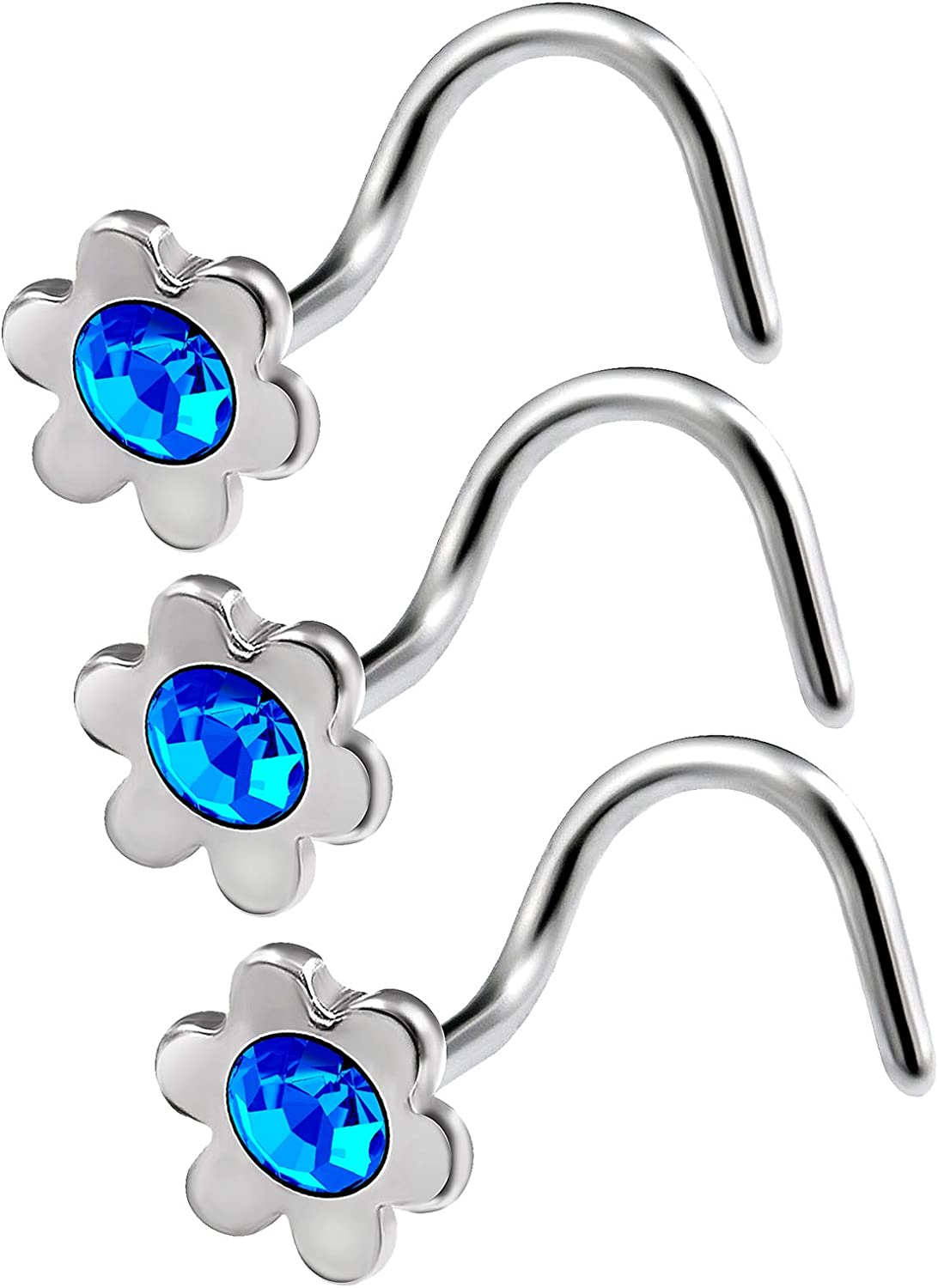 MATIGA 3Pcs Surgical Steel Flower Shaped top 20 Gauge 9/32 7mm Nose Ring Studs Screw Piercing Jewelry Crystal More Choices