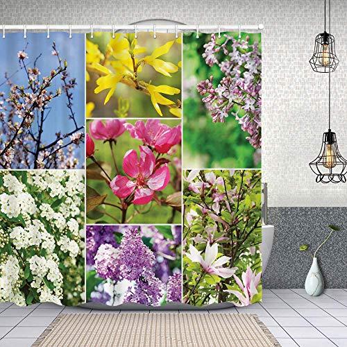 Duschvorhang,Blühende lila Lavendel Aprikose & Pfirsichblüte blüht ruhiges Gartenthema Dekorationen,Enthält 12 Duschvorhanghaken waschbar,Wasserdicht Bad Vorhang für Badezimmer Badewanne 180X180cm