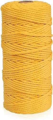 Zaloife Macrame Corde 3mm x 100m, Fil Macrame Coton Naturelle, Ficelle Corde Macramé, Ficelle Coton Jaune Doré, Corde...