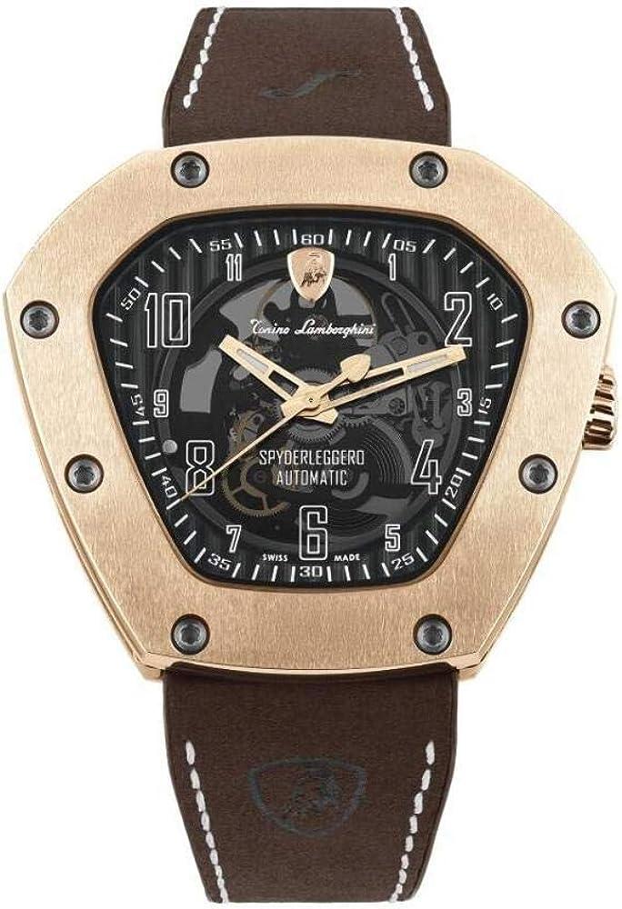 Tonino lamborghini, orologio automatico da uomo, spyderleggero scheletro in titanio pvd oro rosa TLF-T06-5
