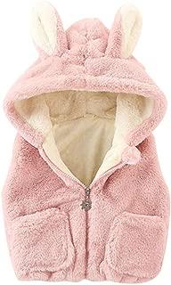 Toddler Infant Girls Autumn Winter Cartoon Rabbit Ear Hooded Thicken Warm Plush Vest Coats with Pockets 12 Months-40 Months