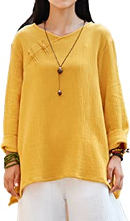 Women's Top,Chinese Frog Button Tops Tees Loose Linen Blouse Casual Tunic T-Shirt