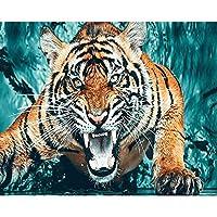 diyの木製フレーム 40x50cm 油絵 数字キットによる絵画 塗り絵 手塗り アニマルタイガー- DIY絵 デジタル油絵-40x50cm (diyの木製フレーム)