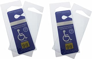4 Pack - Clear Handicap Parking Placard Protective Holders - Rear View Mirror Disability Permit Hanger - Hard Flexible Plastic Construction - by Specialist ID