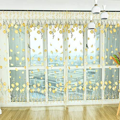 Tianhaik Tende in Voile Fantasia Floreale Tulipano Stampa Floreale Tende Trasparenti Tende a Goccia per Soggiorno Camera da Letto