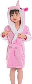 Kids Unicorn Robes Soft Fleece Hooded Bathrobe Sleepwear for Toddler Girls Boys