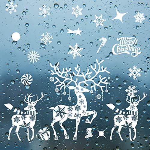 Shijie Christmas Window Stickers Clings Decorations - Snowflake Santa Claus Reindeer White Christmas Window Decals for Kids Winter Decorations (Size-I)