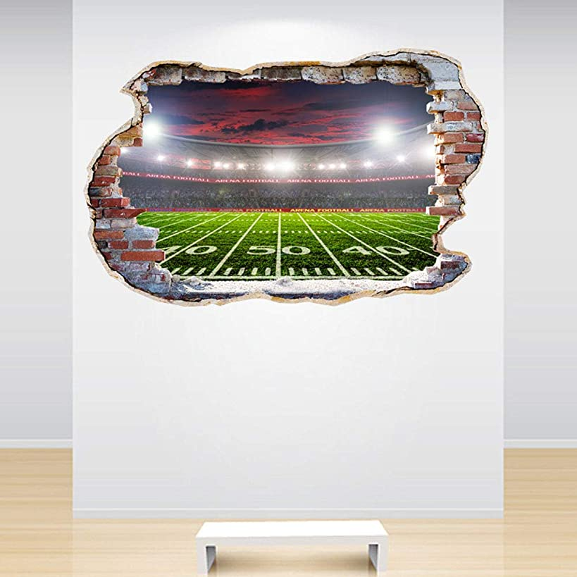 Full Colour American Football Stadium Smashed Wall 3D Effect Boys Bedroom Wall Sticker Decal Kids Bedroom Decoration