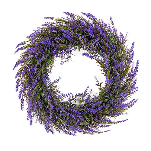 MELAJIA Artificial Lavender Wreaths 16Inch Fake Front Door Wreath with Green Leaves Summer Garland for Wall Home Decor Indoor Outdoor...