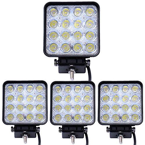 Leetop 4X 48W 16 LED Lampe de travail LED Projecteur à réflecteur Projecteur de travail Offroad SUV de lumière, UTV, ATV offroad Phares supplémentaire LED 12-24V