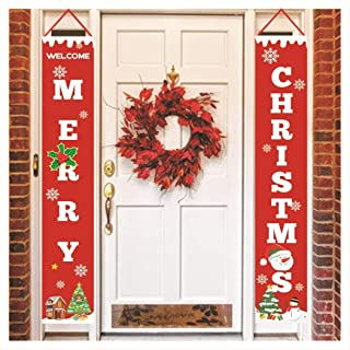 Whatyiu 1Pair 71 x 12 inch Christmas Porch Decoration Sign - Unique Outdoor Door Welcome Banner, Merry Christmas Large Indoor Red Party Décor Flag, for Home Office School Class Yard Wall Display Xmas