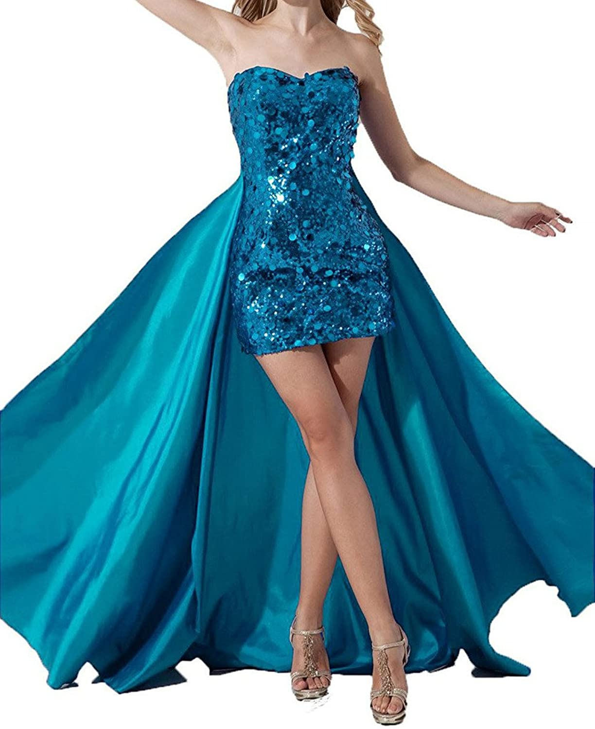 ASBridal Women's Short Cocktail Sequin Prom Party Dress with Detachable Skirt