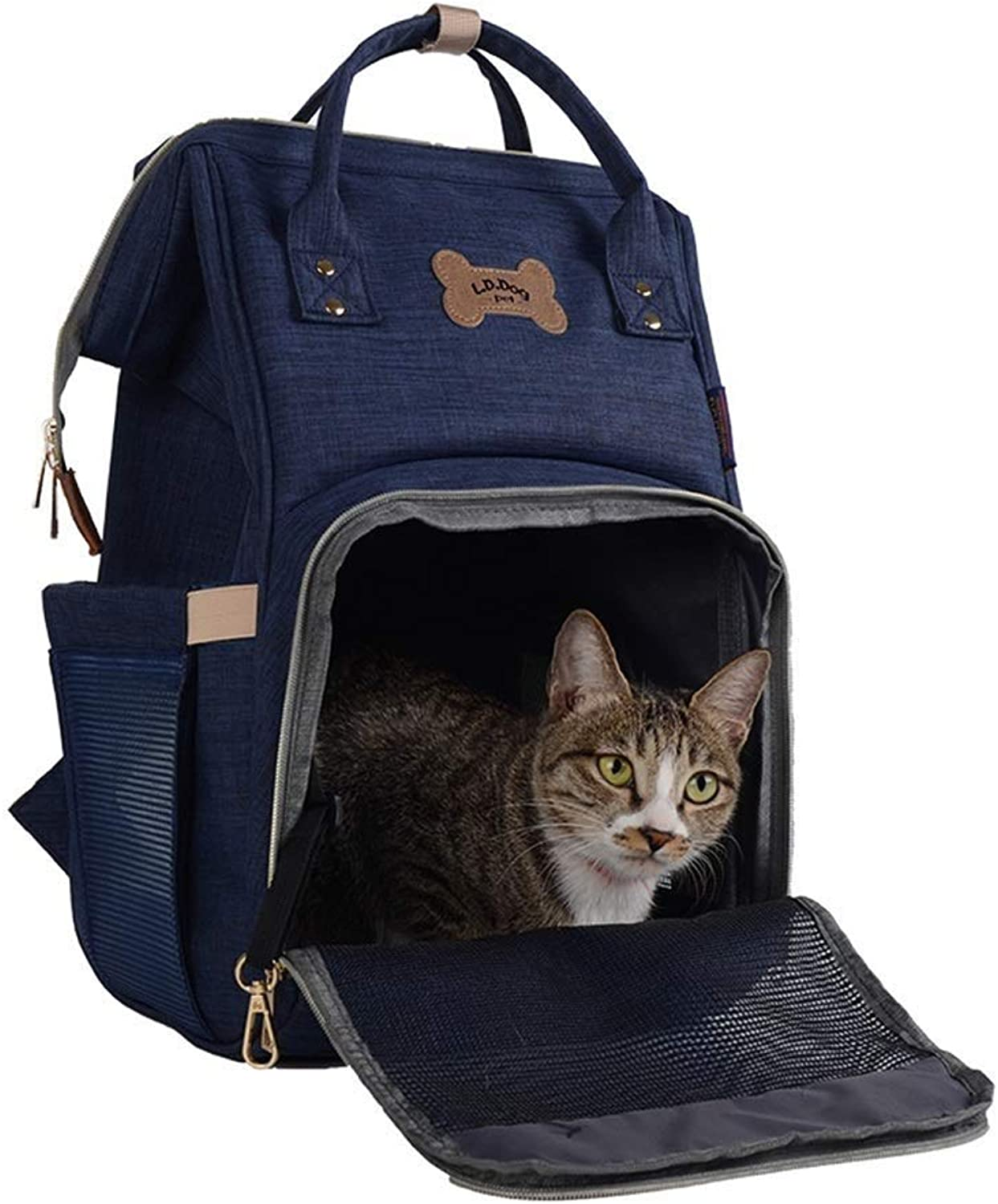 LEMONCOFFEE Cat And Dog Going Out Pet Out Bag For Small Pets Double Shoulder Portable