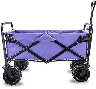 L.HPT Garden Cart Foldable Pull Wagon Hand Cart Garden Transport Cart,Folding Camping Cart with Lining,4 Wheeled Collapsib...