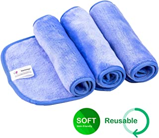 Natwag Makeup Remover Cloth 3 Pack - Reusable Microfiber Cleansing Towel,Suitable for All Skin Types,Move Makeup Instantly with Just Water,Multiple Colours(3 blue)