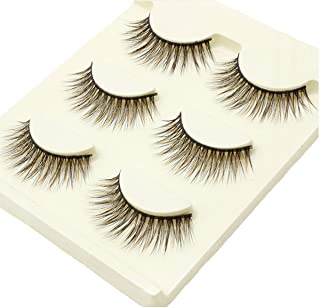 Wehous 3 Pairs Luxurious 3D Natural Brown Thick False Eyelashes Eye Lashes Makeup